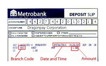 sample deposit slips
